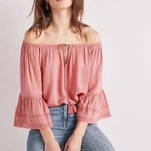 Lucky Brand light pink bell sleeve peasant blouse